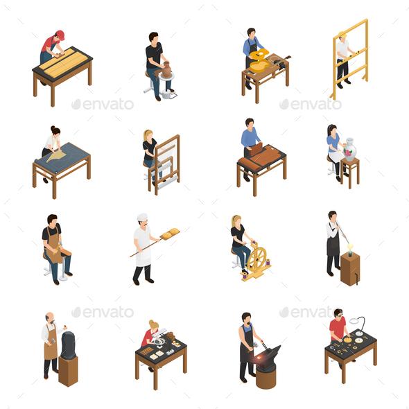 Artisan People Isometric Set - People Characters
