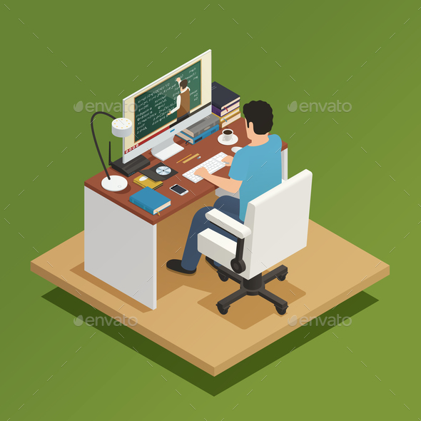 Elearning Isometric Composition - Miscellaneous Vectors