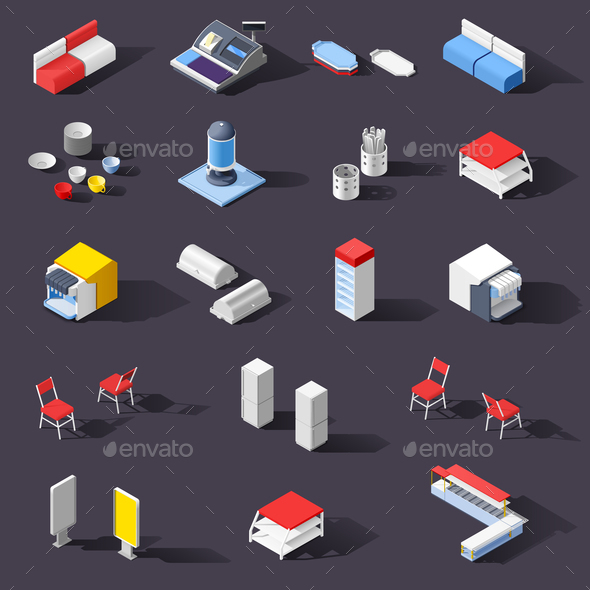 Fastfood Restaurant Equipment Set - Buildings Objects