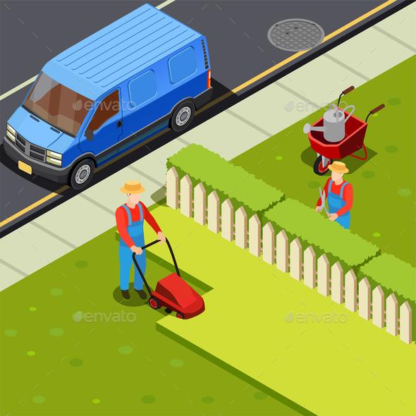 Mowing Lawn Isometric Composition - Miscellaneous Vectors