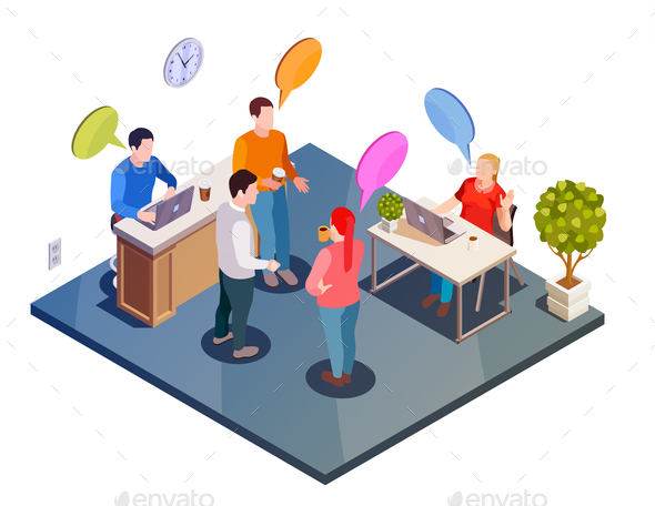 Work Discussion Isometric Composition - People Characters