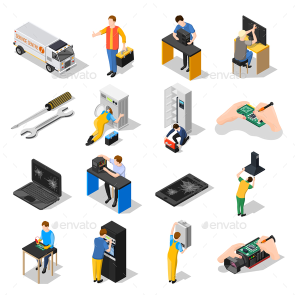 GraphicRiver Service Centre Isometric Icons Set 20835480
