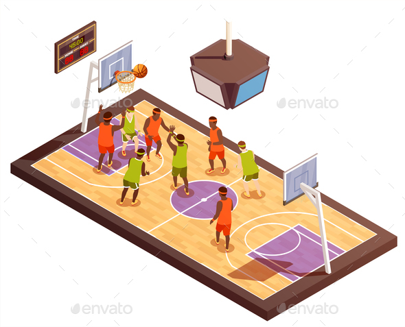 Basketball Court Isometric Composition - Sports/Activity Conceptual