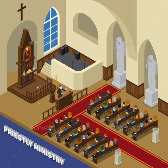 Priestly Ministry Isometric Composition - Buildings Objects