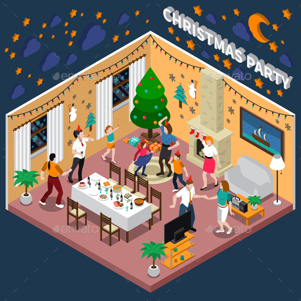 Christmas Party Isometric Composition - Christmas Seasons/Holidays