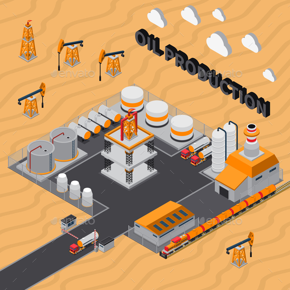 Oil Production Isometric Composition - Industries Business