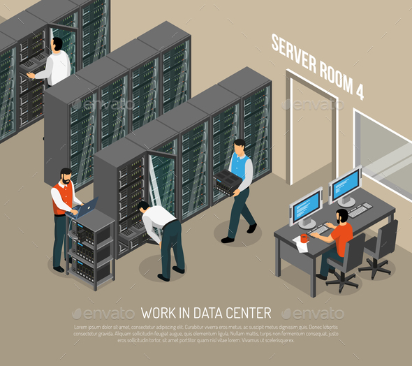 GraphicRiver Work in Data Center Isometric Vector Illustration 20835542