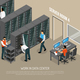 Work in Data Center Isometric Vector Illustration