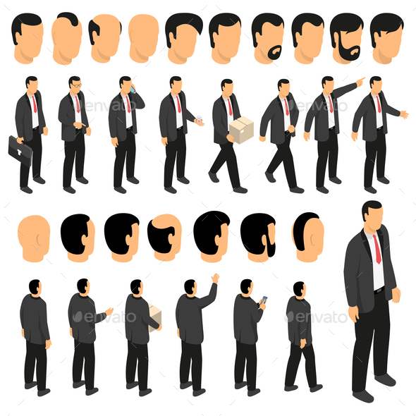 Businessman Character Creation Set - People Characters