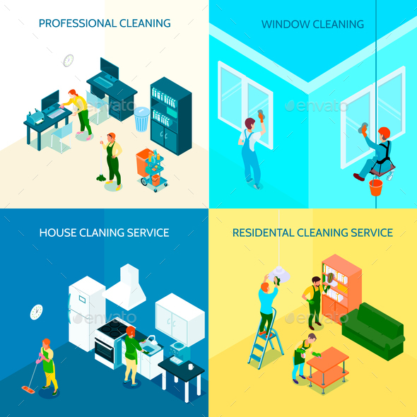 Cleaning Service Isometric Design Concept - Buildings Objects