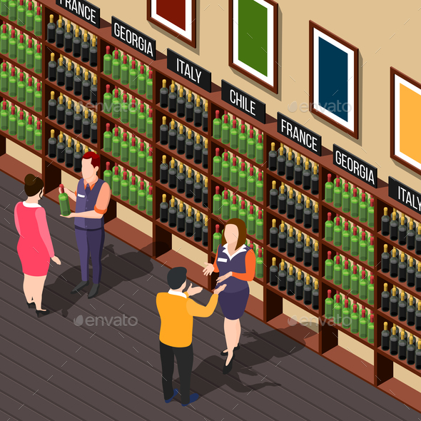 In Winehouse Isometric Composition - Miscellaneous Vectors