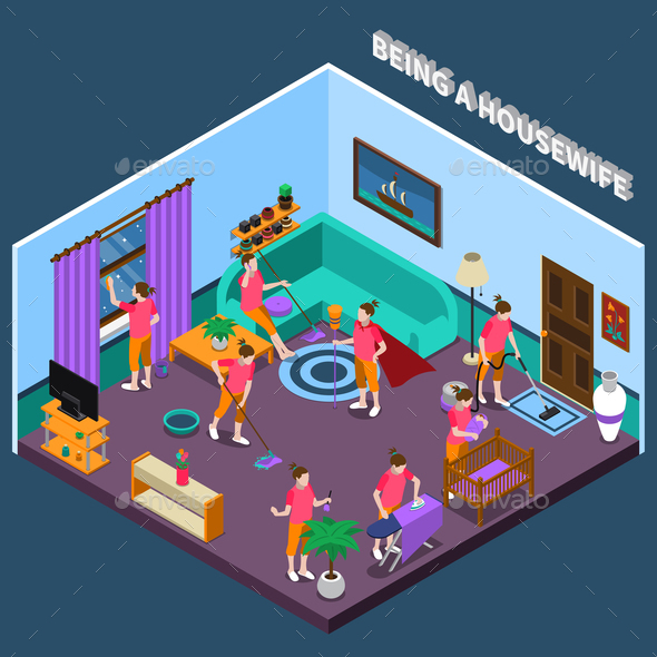 Housewife Isometric Composition - People Characters