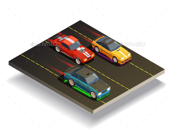 Race Track Cars Composition
