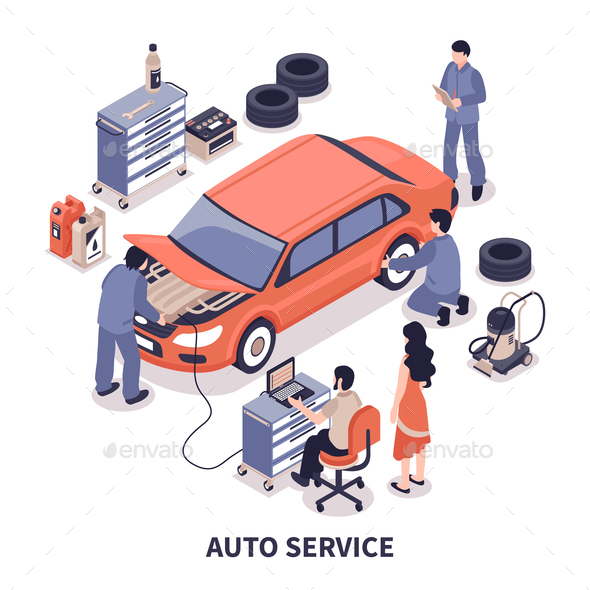 GraphicRiver Auto Service Illustration 20835573