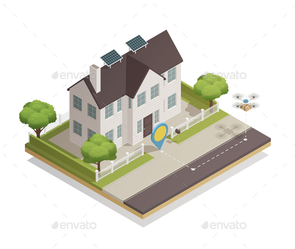 Smart City Townhouse Isometric Composition - Buildings Objects