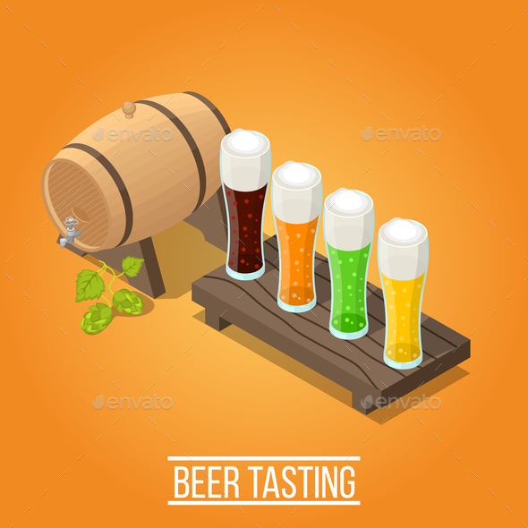Isometric Brewery Background - Miscellaneous Vectors