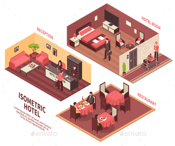 Isometric Hotel Illustration - Buildings Objects