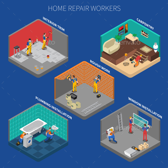 GraphicRiver Home Repair Worker People Composition Set 20835585