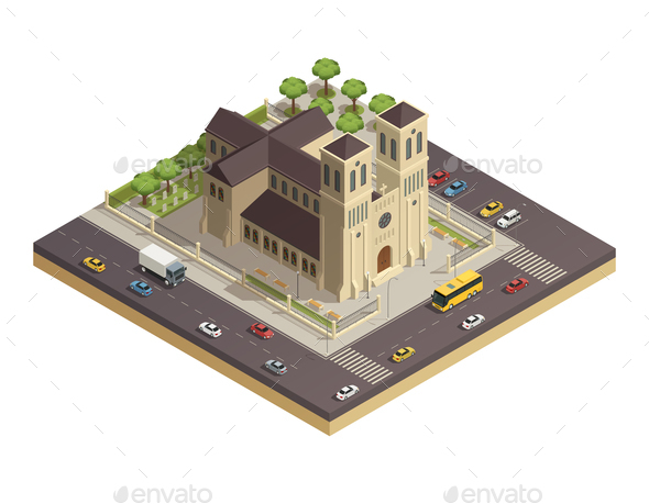 GraphicRiver Church Cathedral Road Isometric Composition 20835593