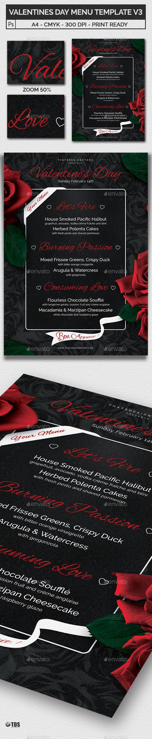 Valentines Day Menu Template V3 - Restaurant Flyers