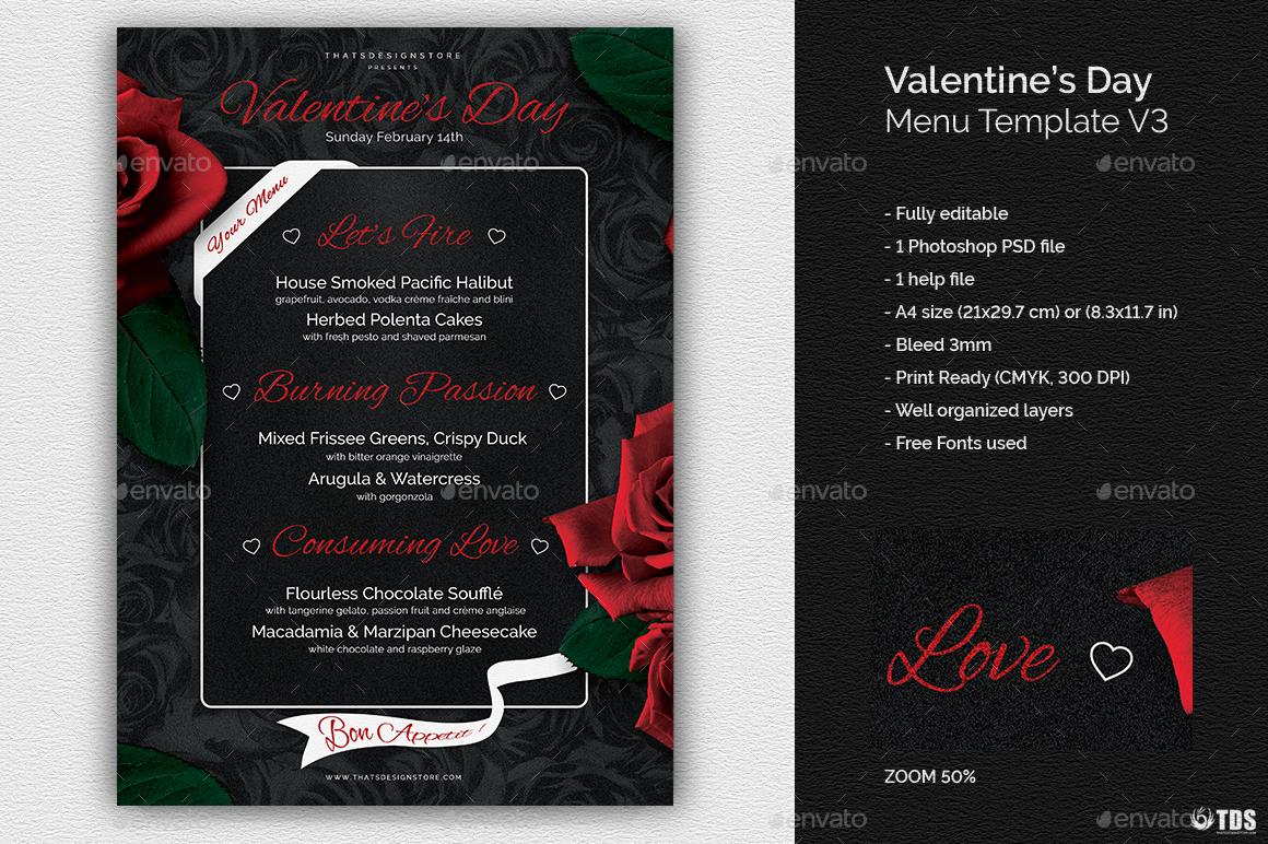 valentines day menu template v3 by lou606