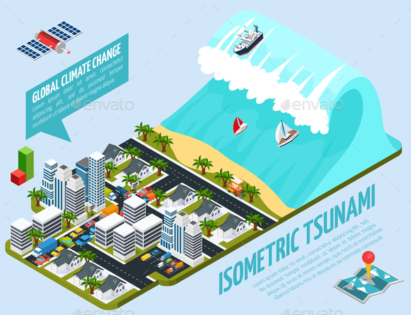 GraphicRiver Isometric Tsunami Global Warming Composition 20835756
