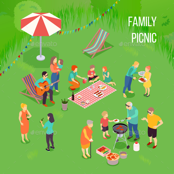 Family Picnic Isometric Illustration - Food Objects