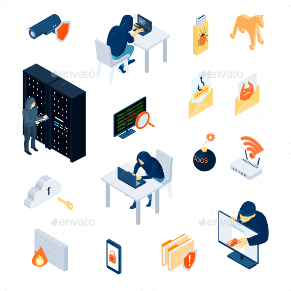 Hacker Isometric Icons Set - Computers Technology