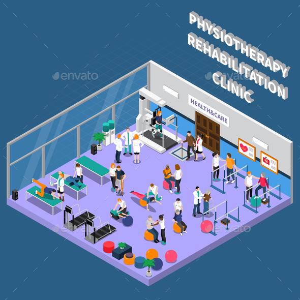 Physiotherapy Rehabilitation Clinic Interior Composition - Health/Medicine Conceptual