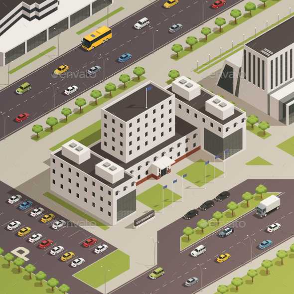City Government Buildings Isometric Composition - Buildings Objects