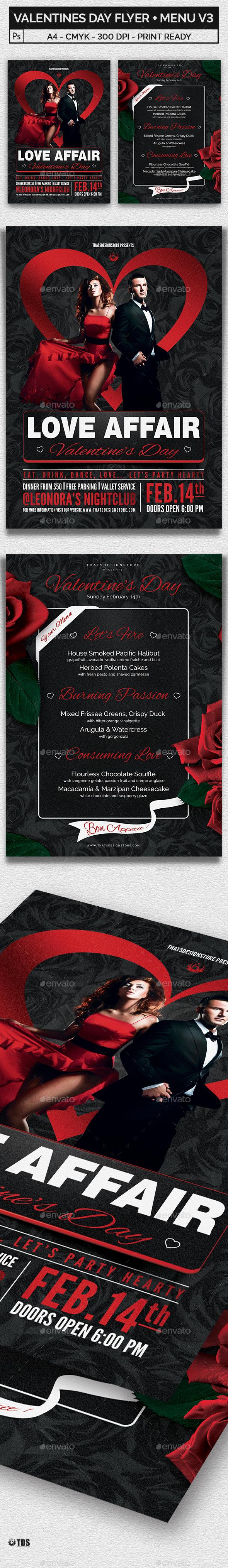 Valentines Day Flyer + Menu Bundle V3 - Holidays Events