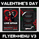 Valentines Day Flyer + Menu Bundle V3 - GraphicRiver Item for Sale