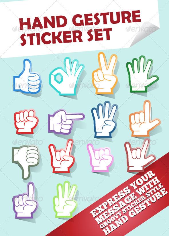 Hand Gesture Stickers - Web Elements Vectors