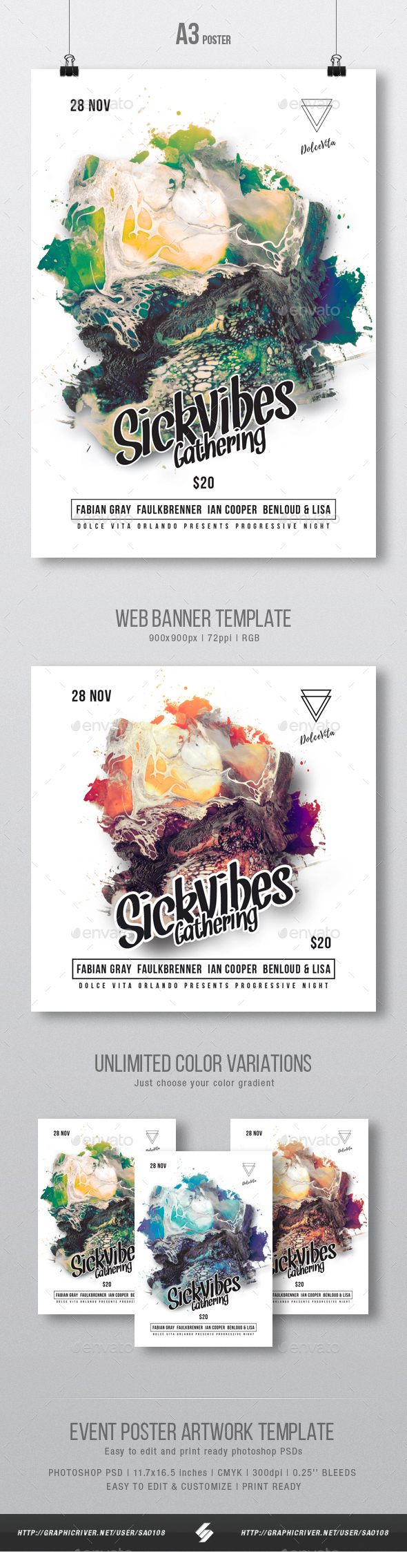 Sick Vibes - Party Flyer / Poster Artwork Template - Clubs & Parties Events