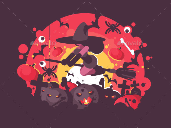 GraphicRiver Witch on Broomstick Flies To Halloween 20836584