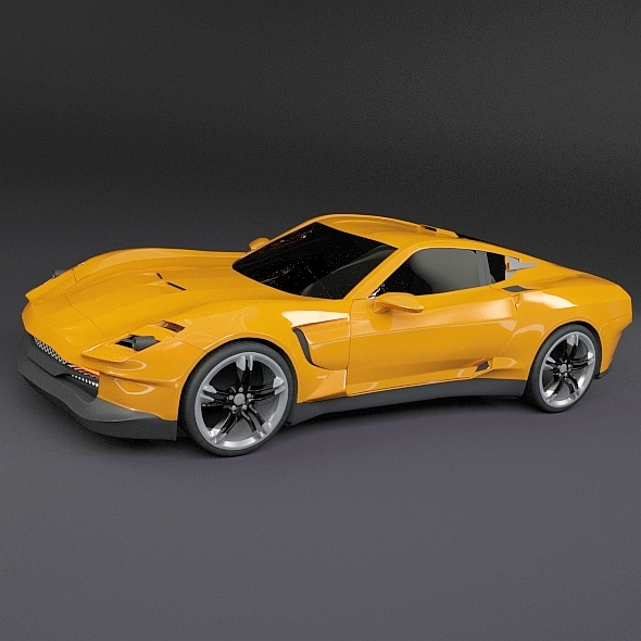 3DOcean Yellow sports car concept 20836651