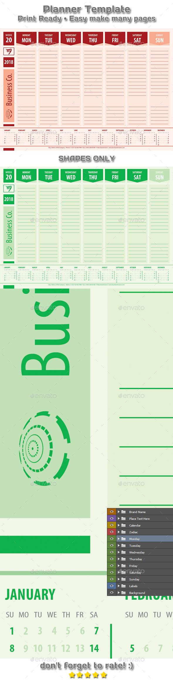 Modern Planner Calendar 2018 Business Style Template - Calendars Stationery
