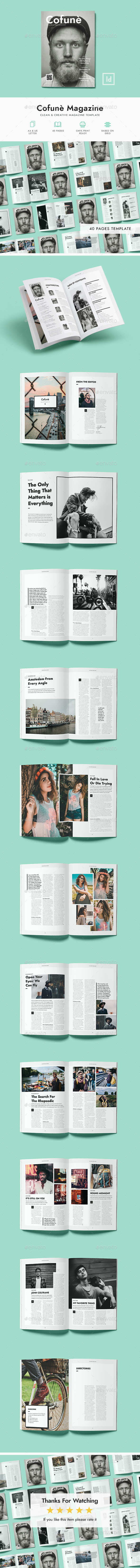 Cofune Magazine - 40 Pages Indesign Template - Magazines Print Templates