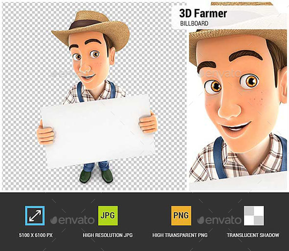 GraphicRiver 3D Farmer Holding a Billboard 20837028