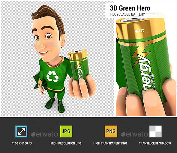GraphicRiver 3D Green Hero Holding Recyclable Battery 20837030