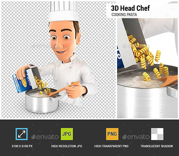 3D Head Chef Cooking Pasta - Characters 3D Renders