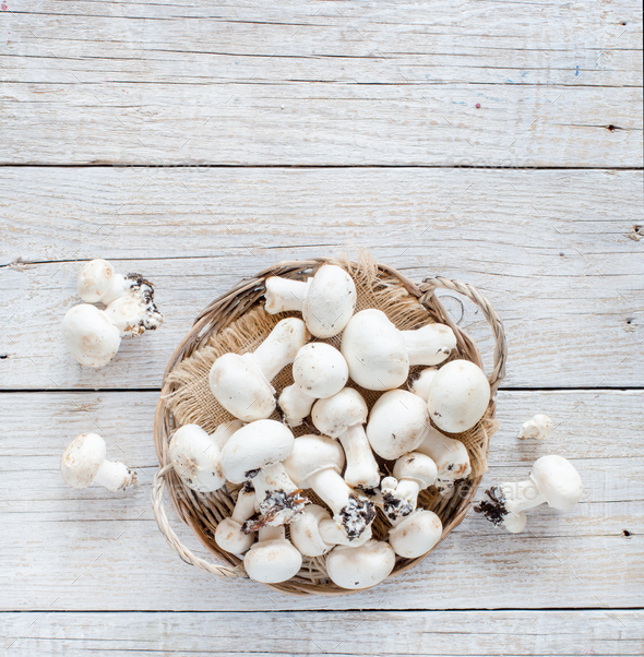 Champignon Mushrooms  on a table - Stock Photo - Images