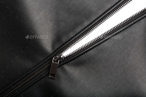 Zip on leather - Stock Photo - Images