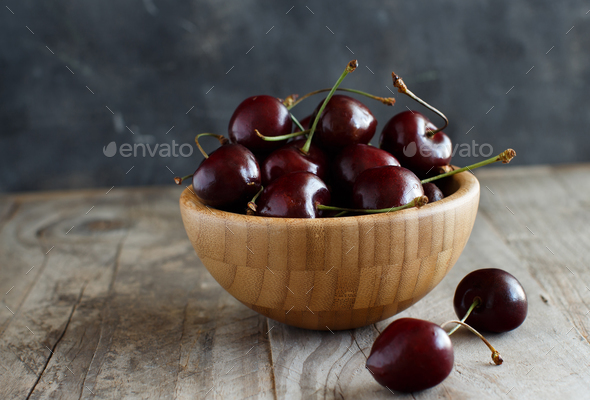 Red cherries in a bowl - Stock Photo - Images