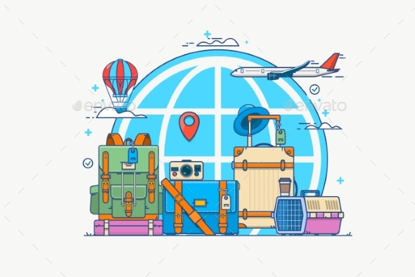 GraphicRiver Illustration of Travel Globe with Pin Camera 20837392
