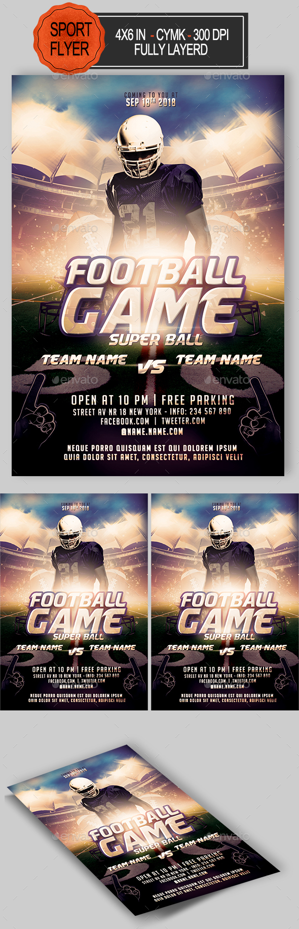 GraphicRiver American Football Flyer 20837465