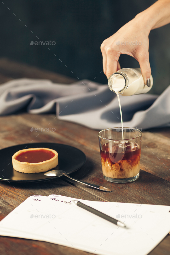 The cake on wooden table - Stock Photo - Images