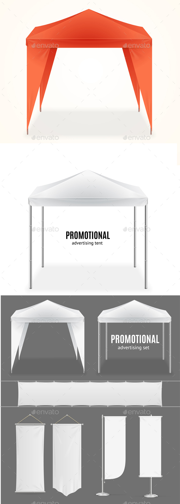 Realistic Promotional Advertising Set - Man-made Objects Objects