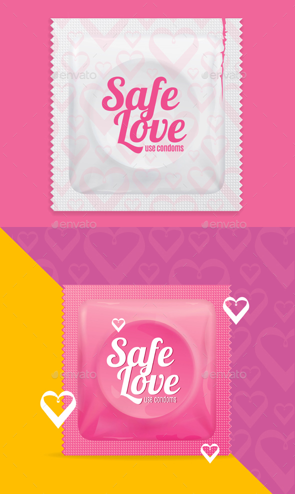 Realistic Condoms Package Safe Love Concept - Conceptual Vectors