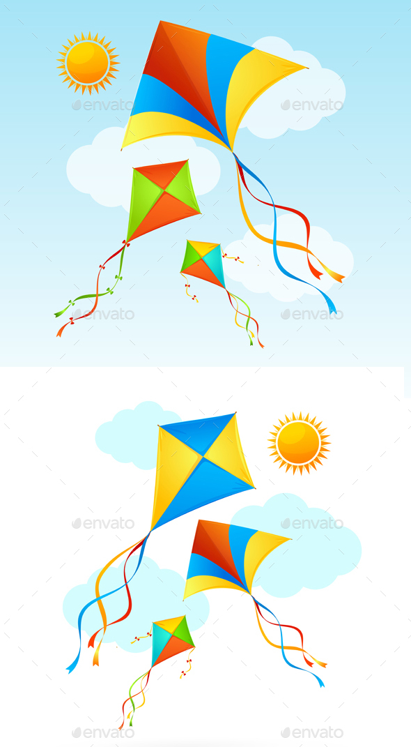 Flying Kite and Clouds on a Sky Summer Background - Backgrounds Decorative